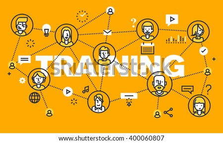 Thin line flat design banner for TRAINING web page, online education, courses, networking, video tutorials, staff training. Vector illustration concept of word TRAINING for website banners. - stock vector