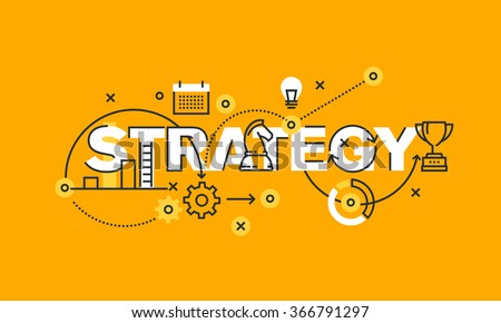 Thin line flat design banner of business and marketing strategy.  Modern vector illustration concept of word strategy for website and mobile website banners, easy to edit, customize and resize. - stock vector