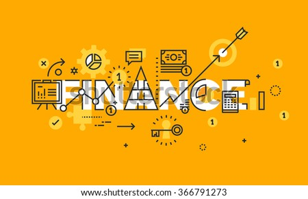 Thin line flat design banner of business, finance and banking.  Modern vector illustration concept of word finance for website and mobile website banners, easy to edit, customize and resize. - stock vector