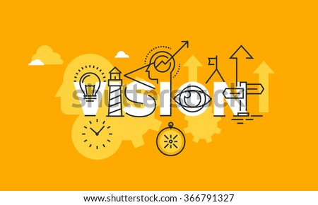 Thin line flat design banner of company vision statement.  Modern vector illustration concept of word vision for website and mobile website banners, easy to edit, customize and resize. - stock vector
