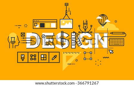 Thin line flat design banner of graphic design solutions.  Modern vector illustration concept of word design for website and mobile website banners, easy to edit, customize and resize. - stock vector