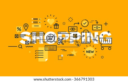 Thin line flat design banner of online shopping, e-commerce, m-commerce.  Modern vector illustration concept of word shopping for website and mobile website banners, easy to edit, customize and resize - stock vector