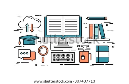Thin line flat design concept of online education, vector illustration  - stock vector