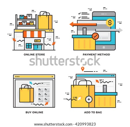 Thin line flat design concept of Online Store,Payment Method, Buy Online and E-Commerce.  Design for Website Element , Mobile websites and Apps. - stock vector