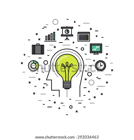 Thin line flat design of business innovation idea, invention progress of human mind, personal inventiveness for success job workflow. Modern vector illustration concept, isolated on white background. - stock vector