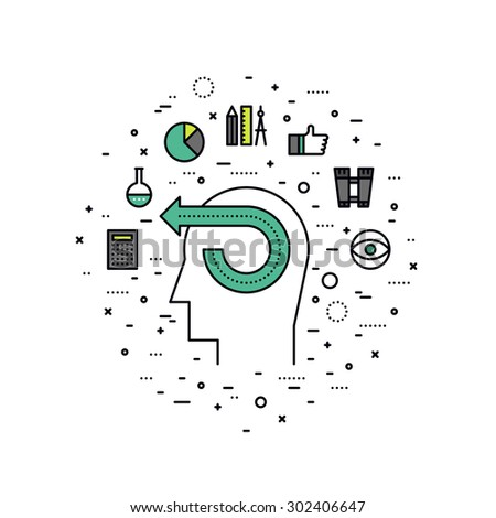 Thin line flat design of creative power ideas, human imagination process, business man vision, brain thinking energy, mind inspiration. Modern vector illustration concept, isolated on white background - stock vector