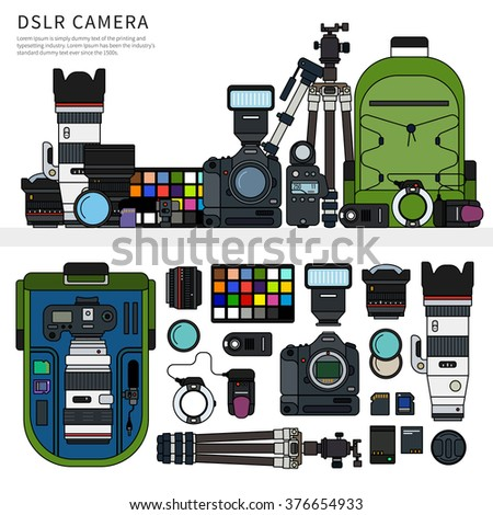 Thin line flat design of digital single lens reflex. DSLR camera packed, the parts of this camera in order, rucksack, tripod, object-glasses isolated on white background - stock vector