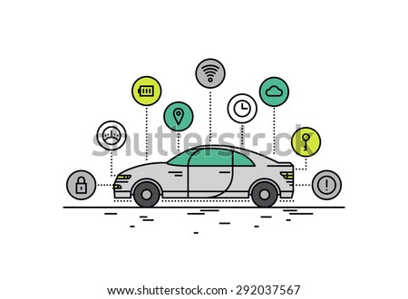Thin line flat design of driverless car technology features, autonomous vehicle system capability, internet of things road transport. Modern vector illustration concept, isolated on white background. - stock vector