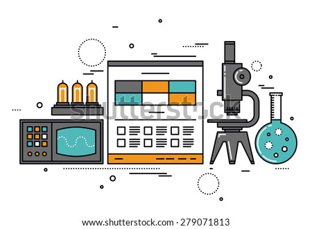 Thin line flat design of electrical science research, technical documentation on website, vacuum lamp tube and retro oscilloscope. Modern vector illustration concept, isolated on white background. - stock vector