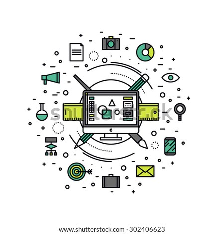 Thin line flat design of graphic designer essential equipment, computer design editor for creating web advertising and digital art. Modern vector illustration concept, isolated on white background. - stock vector