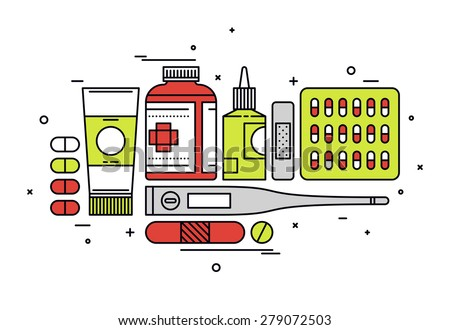 Thin line flat design of medication supplies, aspirin and painkiller pills, medical tools, healthcare equipment for health treatment. Modern vector illustration concept, isolated on white background. - stock vector
