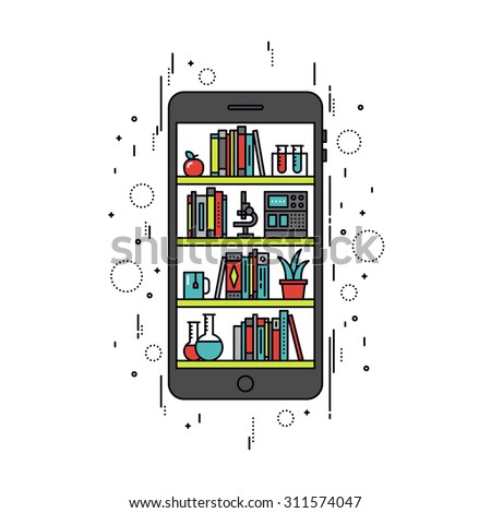 Thin line flat design of online library on smartphone, mobile education apps on cellphone screen, books on shelf for internet course. Modern vector illustration concept, isolated on white background. - stock vector