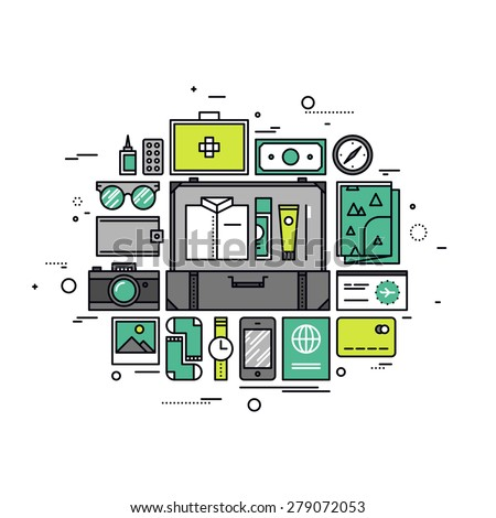 Thin line flat design of planning a vacation, preparing baggage for cruise, packing suitcase for travel, passenger luggage with items. Modern vector illustration concept, isolated on white background. - stock vector