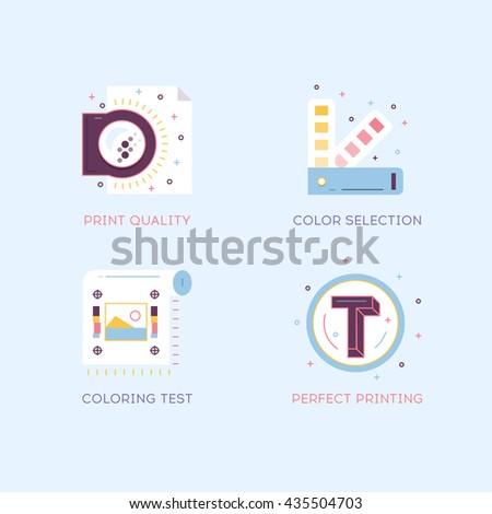 Thin line flat design of printing process steps, print design project, printing industry. Modern vector illustration concept, isolated on background - stock vector