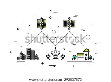 Thin line flat design of satellite communication system, global network service provider, transmitting high speed internet and TV data. Modern vector illustration concept, isolated on white background - stock vector
