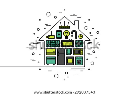 Thin line flat design of smart house appliances, centralized wireless technology control system for monitoring and electronic things. Modern vector illustration concept, isolated on white background. - stock vector