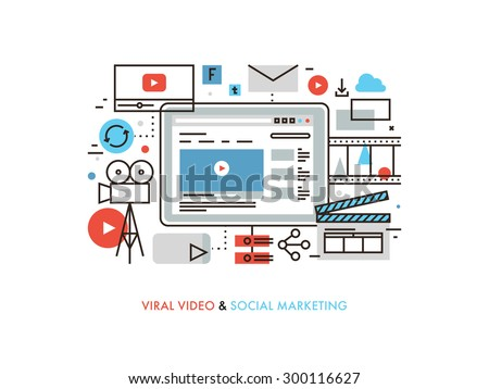Thin line flat design of viral video production, digital marketing campaign, internet medium mass communication, social media sharing. Modern vector illustration concept, isolated on white background. - stock vector