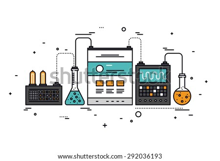 Thin line flat design of website content research, smart technology for SEO analytics, web page information analysis, technical tools. Modern vector illustration concept, isolated on white background. - stock vector