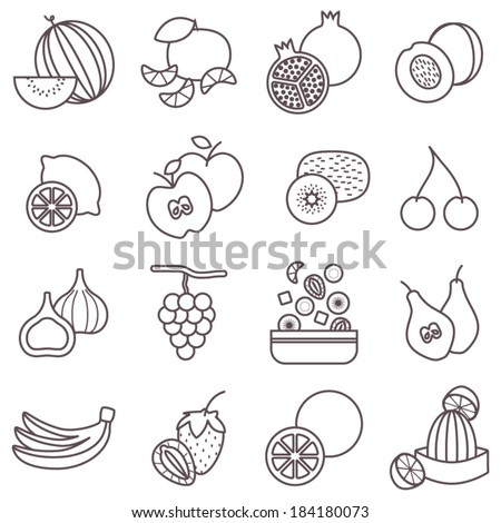 Thin line food icons set, fruit vector collection - stock vector