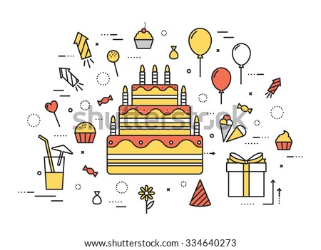 Thin line happy birtday party modern illustration concept. Infographic guide way from candy to the cake. Icon isolated on white background. Flat vector template design for web and mobile application - stock vector