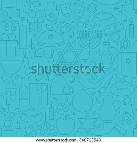 Thin Line Happy Hanukkah Blue Seamless Pattern. Vector Jewish Winter Holiday Design and Seamless Background in Trendy Modern Line Style. Israel Judaism Religion - stock vector