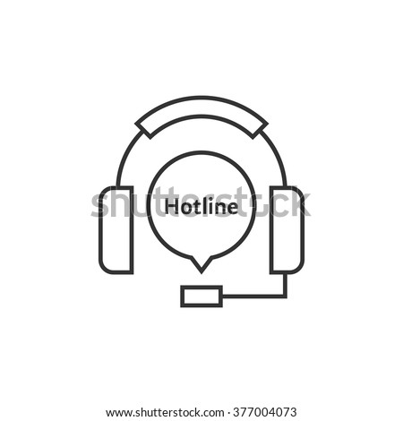 thin line headphone like hot line. concept of ask, ui, tech, callback, crm, faq, feedback, e-commerce. isolated on white background. flat style trend modern brand logotype design vector illustration - stock vector