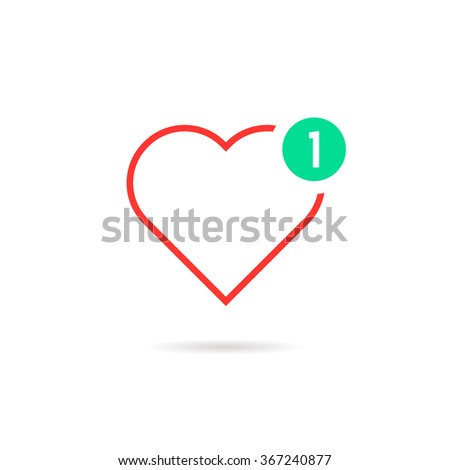 thin line heart like notification. concept of happy valentine day message, ui, charity, positive rating. isolated on white background. flat style trend modern logotype design vector illustration - stock vector