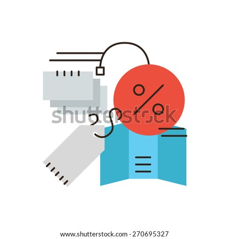 Thin line icon with flat design element of abstract discount sales, shop tag and price label, retail marketing items, consumerism promotion. Modern style logo vector illustration concept. - stock vector