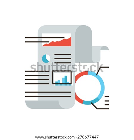 Thin line icon with flat design element of abstract financial statistics, corporate document, business graph and chart, fax paper, market data figures. Modern style logo vector illustration concept. - stock vector