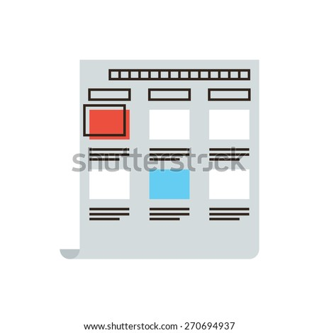 Thin line icon with flat design element of abstract storyboard, making story movie layout, professional production film, mounting filmstrip. Modern style logo vector illustration concept. - stock vector