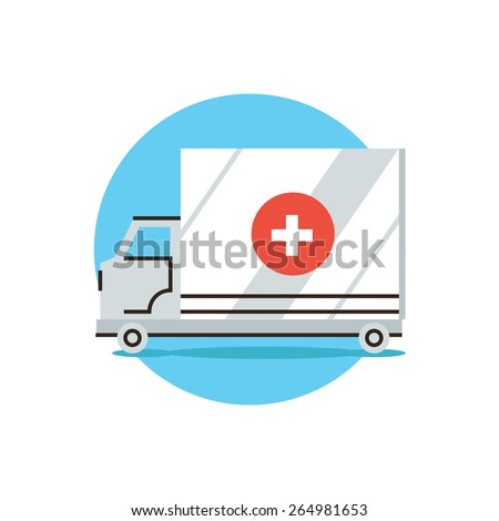Thin line icon with flat design element of ambulance car, first aid assistant, medical hospital, transport van, emergency help. Modern style logo vector illustration concept. - stock vector