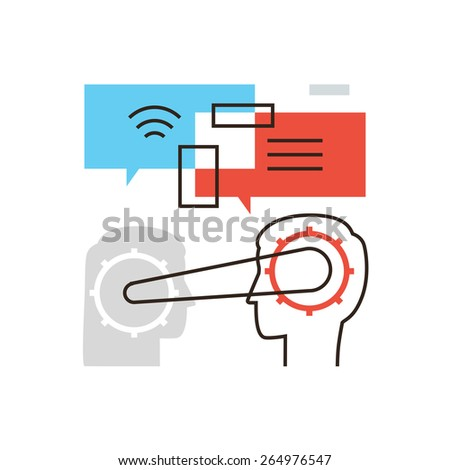 Thin line icon with flat design element of business team connection, people communication, develop invention, success teamwork, remote work. Modern style logo vector illustration concept. - stock vector