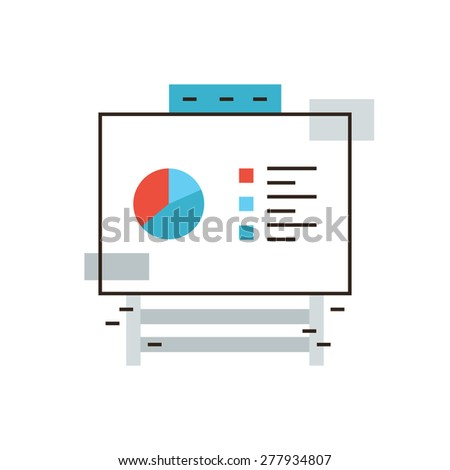 Thin line icon with flat design element of company statistics on flipchart board, market data report, info chart on whiteboard, corporate infographic. Modern style logo vector illustration concept. - stock vector