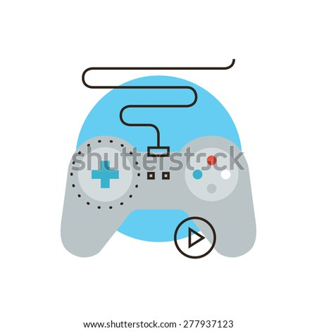 Thin line icon with flat design element of console gamepad, video gaming entertainment, game joystick, play game, device controller. Modern style logo vector illustration concept. - stock vector