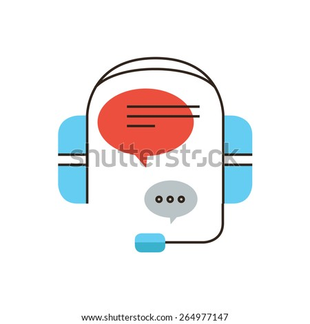 Thin line icon with flat design element of customer service, live chat support, telephone operator, phone call assistance, answer to request. Modern style logo vector illustration concept. - stock vector
