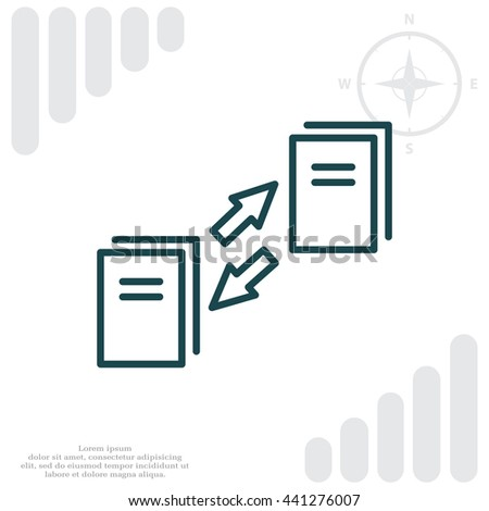Thin line icon with flat design element of data synchronization, update contents of computer file, sync servers, shared folder, web transfer info. Modern style logo vector illustration concept - stock vector