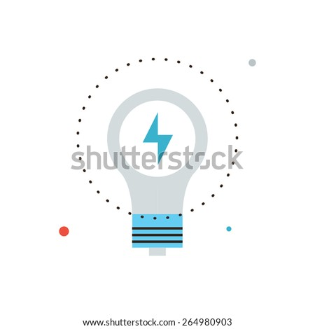 Thin line icon with flat design element of energy savings, efficiency of electricity, electric lamp, energy-saving technologies, save power lightbulb. Modern style logo vector illustration concept. - stock vector