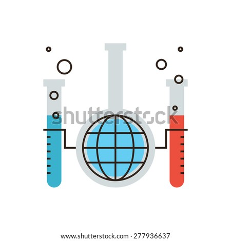 Thin line icon with flat design element of global chemical reaction, science innovation in world of chemistry, laboratory tube and flask, mixing liquids. Modern style logo vector illustration concept. - stock vector