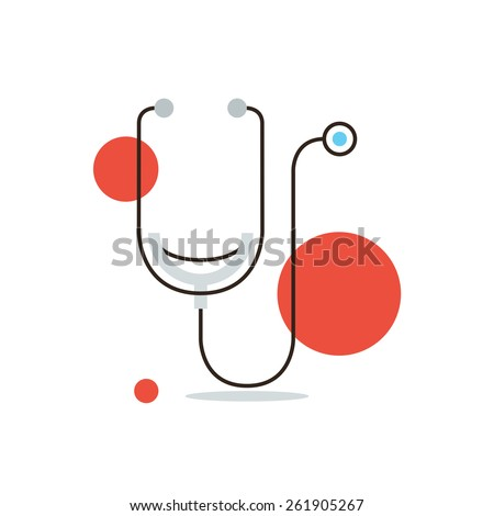Thin line icon with flat design element of medical diagnostics, cardiology investigation, stethoscope, health care, human inspection, tool doctor. Modern style logo vector illustration concept. - stock vector