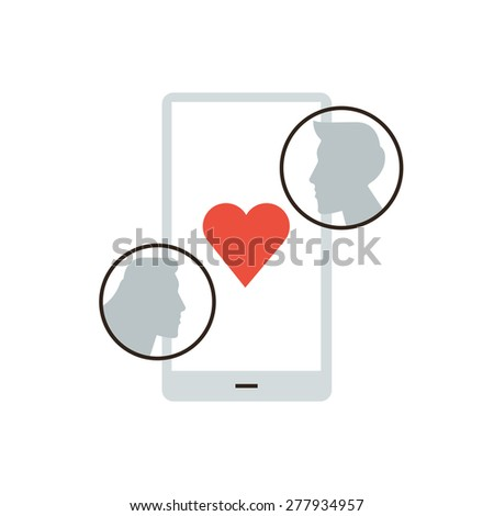 Thin line icon with flat design element of mobile dating application, flirt and romance via smartphone, virtual love, date beginning relationship. Modern style logo vector illustration concept. - stock vector