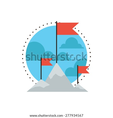 Thin line icon with flat design element of mountain peak climbing, success mission, put a flag on a top high, goal challenge achievement, outdoor hiking, Modern style logo vector illustration concept. - stock vector