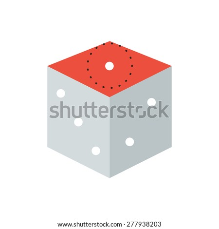 Thin line icon with flat design element of play dice gamble game, gambling game cube, misfortune in a bet, bad luck in challenge, success bid. Modern style logo vector illustration concept. - stock vector