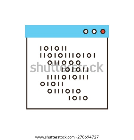Thin line icon with flat design element of programming language, coding webpage, binary code, build  website, write script. Modern style logo vector illustration concept. - stock vector