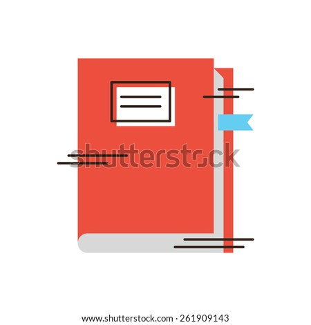 Thin line icon with flat design element of read textbook, student learning, studying at institute, cover book, receive education. Modern style logo vector illustration concept. - stock vector