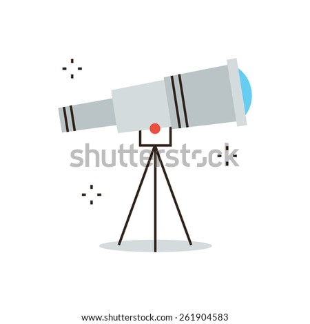 Thin line icon with flat design element of space exploration, business vision, search ideas, looking for a new way, astronomical discovery. Modern style logo vector illustration concept. - stock vector