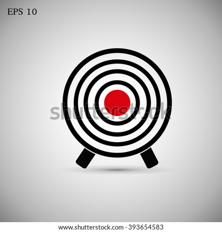 Thin line icon with flat design element of success target focus group, aiming for objective market, direct hit in bulls eye, opportunity solving problems - stock vector