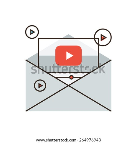 Thin line icon with flat design element of viral newsletter, sharing spam, media marketing, video mail, information dissemination, business promotion. Modern style logo vector illustration concept. - stock vector