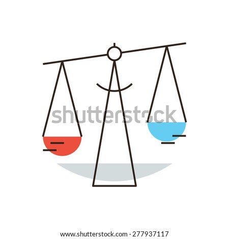 Thin line icon with flat design element of weigh balance scales, independent judiciary and comparison, legal business, state law, libra zodiac. Modern style logo vector illustration concept. - stock vector