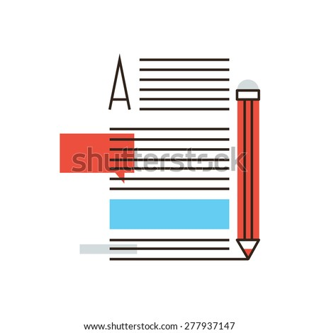 Thin line icon with flat design element of writing articles, internet blogging, text page of  writer blog, media content, copywriting news, post info. Modern style logo vector illustration concept. - stock vector