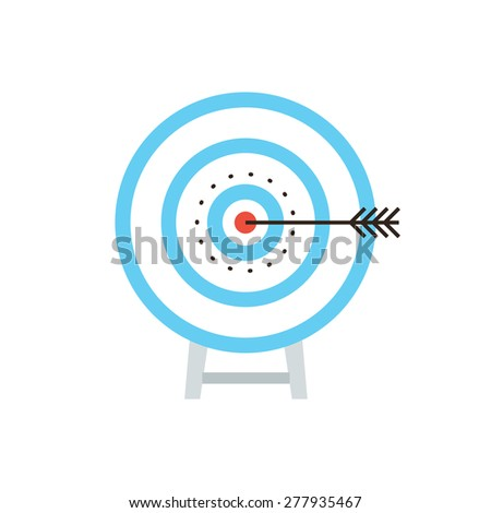 Thin line icon with flat design element success shot on target, archery dartboard, direct hit at bulls eye, maximum result, top performance and aim score. Modern style logo vector illustration concept - stock vector